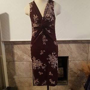 Brown and white figure flattering dress